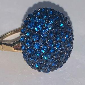 Vintage Vendome Blue Crystal Adjustable Ring